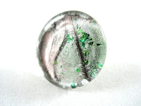 Ring Peppermint  Adjustable  Silver Plated  Glass  by PikalooShop