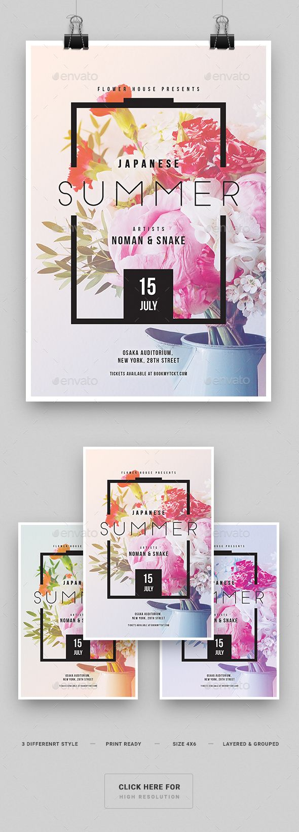 Japanese Summer Party Flyer  - PSD Template • Only available here ➝ graphicr...