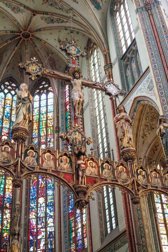 Neo-Gothic rood screen of the Krijtberg Church in Amsterdam. The architect was Alfred Tepe.