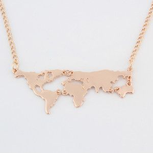 Gold Plated World Map Pendant Necklace For Women More Colors Available
