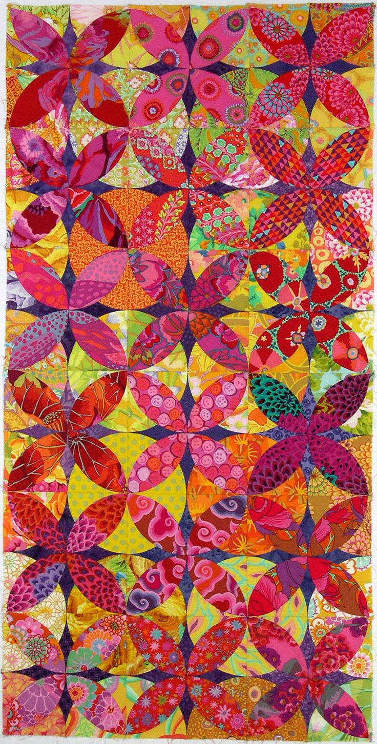"Alabama Beauty by Carol Muse Skinner : ""I am going to call it ""Round and Round"" from the lyrics to the Perry Como song of the same name. It is hand pieced using the Inklingo pattern ""Orange Peel Deluxe."""