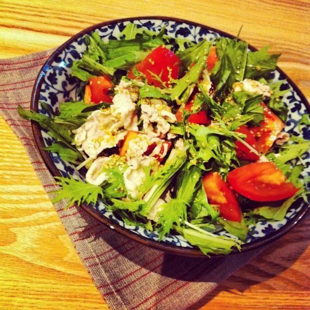 生野菜が美味しい季節。 レタス好きだけどなかなか食べきるないから水菜は助かります。 材料少ないといつでもささっと用意できるからよい。 - 44件のもぐもぐ - 豚しゃぶと水菜のさっぱりサラダ by raycheal