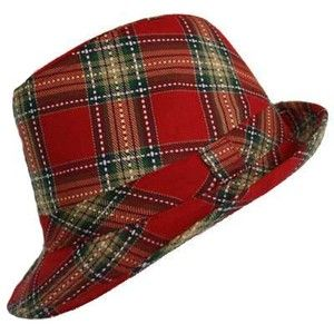 RED SEXY CHIC TARTAN PLAID STRUCTURED FEDORA HAT (H1366) - Polyvore