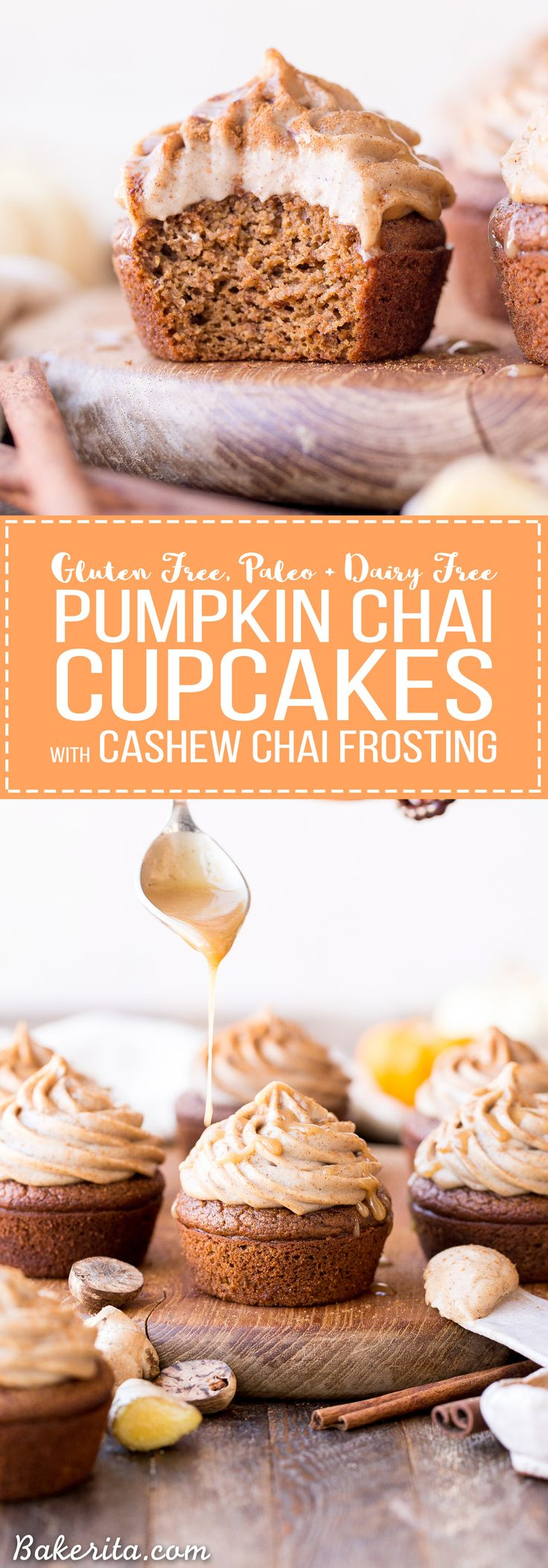 These Pumpkin Chai Cupcakes are soft, moist and bursting with warm chai spices and pumpkin flavor. They're topped with an irresistible cashew-based chai frosting that you'd never guess is paleo + vegan. @simplemills #ad