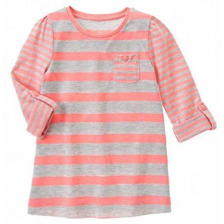Camiseta Gymboree Multi-Striped Pocket manga larga