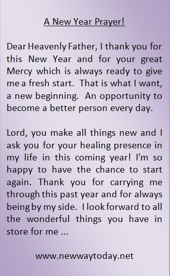 A NEW YEAR PRAYER!  Visit www.newwaytoday.net for more