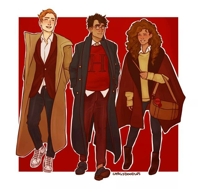 Harry-Ron-Hermione. Omg they're so stylish