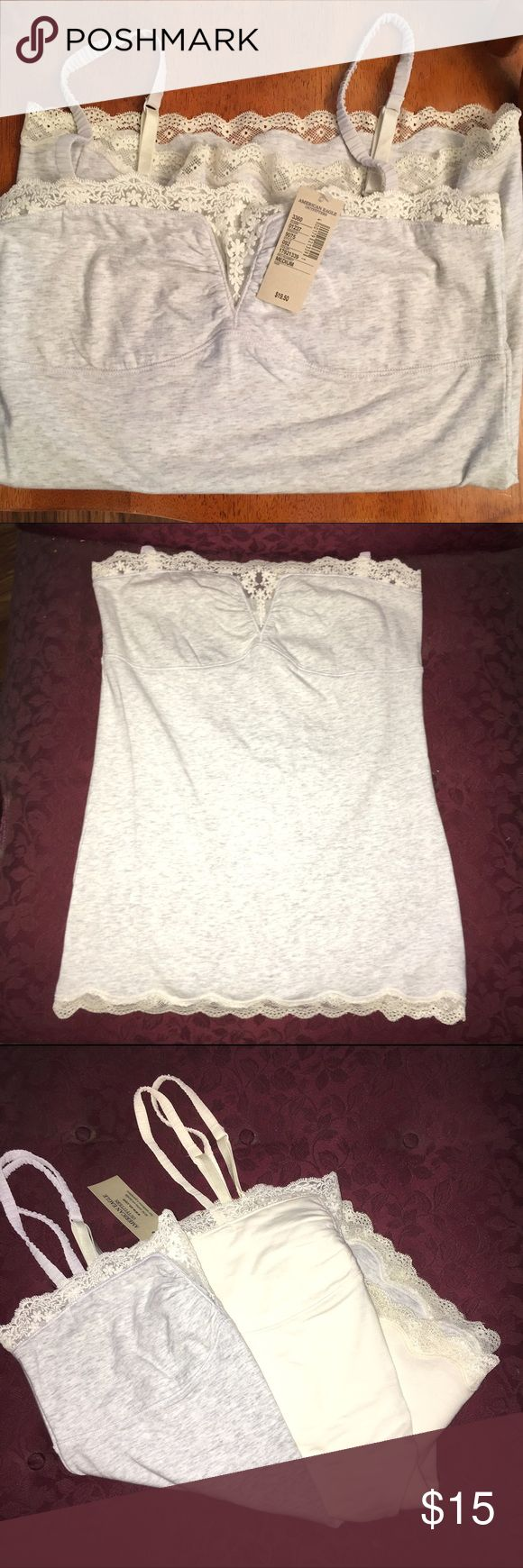 Women's camisole Gray tank top with cream colored lace at top and bottom. NWT. Also have cream colored one without the tags (small), will sell together for $25 American Eagle Outfitters Tops Tank Tops
