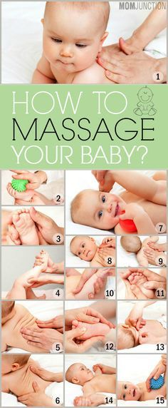 How To Massage Your Baby: Baby is constantly building muscle and just like us that makes them sore. I would consider setting a massage setting as well this with some lavender essential oils to smell and candle lit. Maybe right after a warm bath and get baby relaxed for sleep.