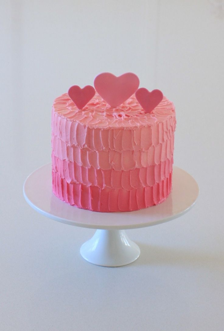 Pretty and Pink~Four layers of Victoria Sponge (8″) with vanilla buttercream. Or use your own recipe but I'm pinning this because I love the Ombre Buttercream icing idea.