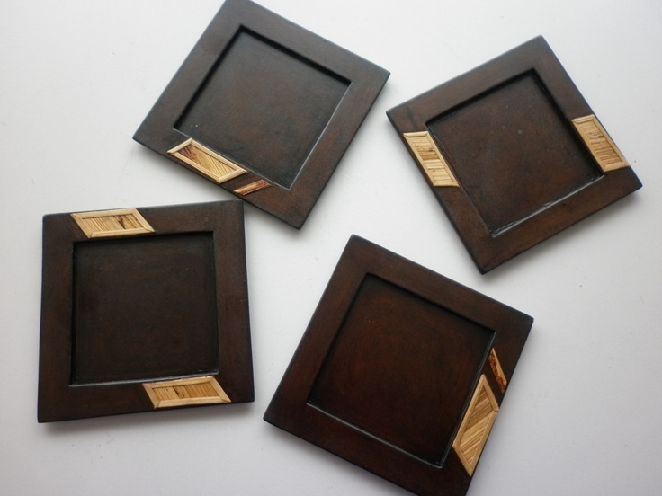 laminated wood coasters with banana fiber