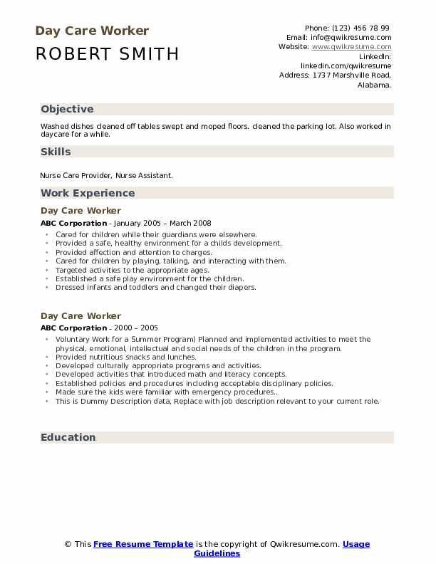 Day Care Worker Resume Samples In 2020 Resume Examples Resume Resume Skills