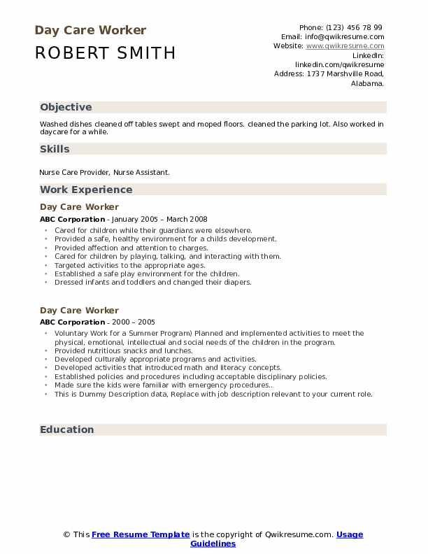 Day Care Worker Resume Samples Resume Examples Resume Skills Resume No Experience