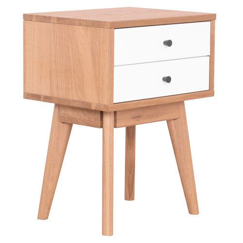 Milan Direct Torsby Spritz Scandinavian 2 Drawer Bedside Table