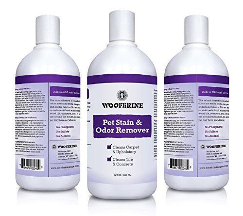 Wooferine  Natural Pet Stain  Odor Remover32oz  DUAL ACTION FORMULA That Eliminates and Deodorizes Instantly  Gets Rid Of Smell Associated With Urine Feces Vomit Blood Food and Similar Organic Wastes  SAFE To Use On Animal Bedding Around Pets And Children FREESSHHHH Smell That You And Your Pet Will Love -- Click image to review more details.