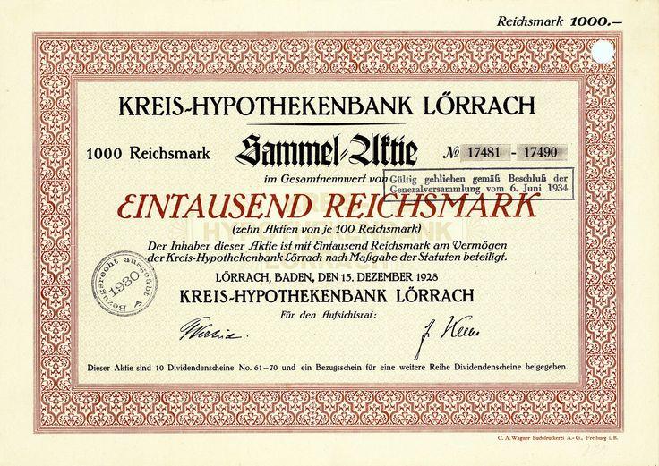 Kreis-Hypothekenbank Lörrach, Baden, Aktie von 1928 + NUR 10 STÜCK EXISTENT!