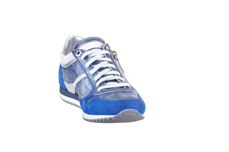 RUNNING SNEAKER IN WASHED OCEAN METAL LEATHER AND SUEDE WITH ZIP #Corvari #shoesofthemonth #ss2014 #sneakers