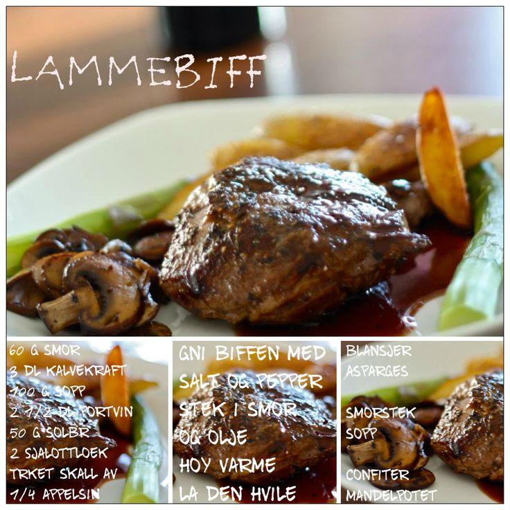 Lammebiff med sprøstekte mandelpoteter, blansjert asparges, stekt sopp og portvinssaus