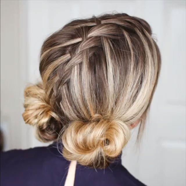 Cute braided buns hair tutorial video!