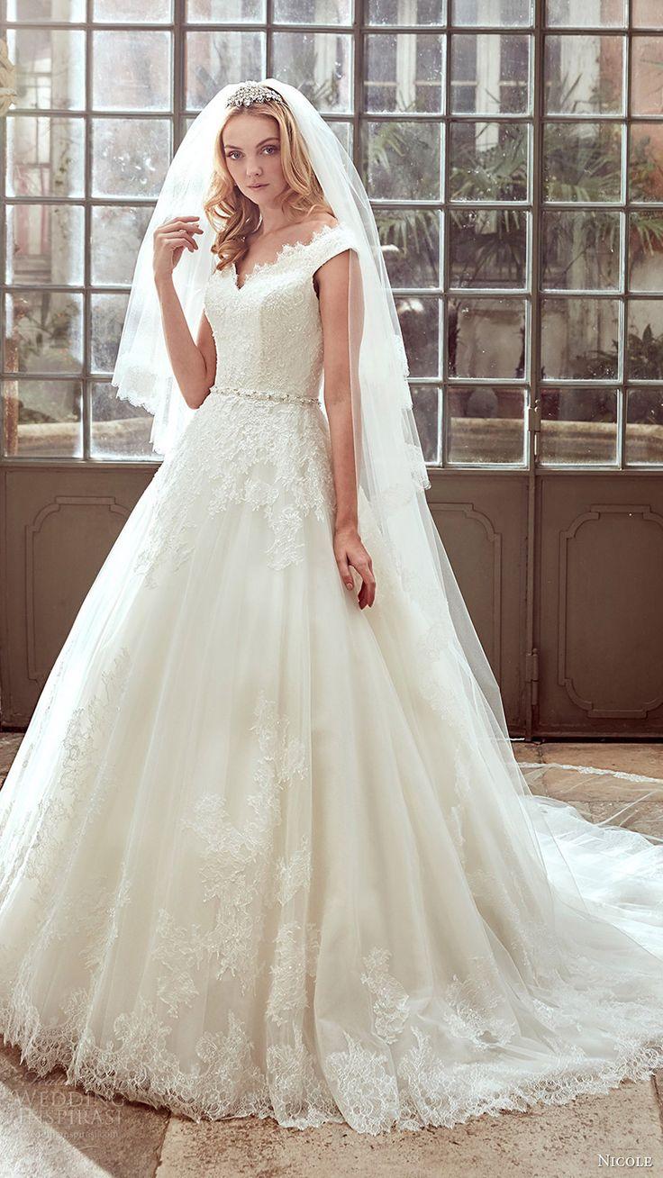 nicole spose bridal 2017 off shoulder ball gown wedding dress (niab17081) mv train
