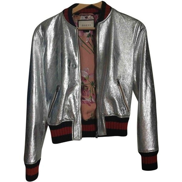 Pre-owned Gucci Leather Biker Jacket ($2,359) ❤ liked on Polyvore featuring outerwear, jackets, metallic, leather biker jackets, aviator bomber jacket, leather aviator jacket, motorcycle jacket and metallic bomber jacket