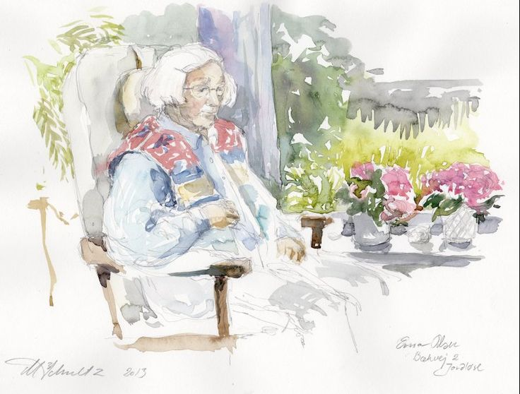 """A nice old lady, i painted in her home, while she told me a lot of interesting story's about her life. Mai-Britt Schultz - at the art project : """"Art in everyday life"""" Kunst i Hverdagen - Mai-Britt Schultz"""