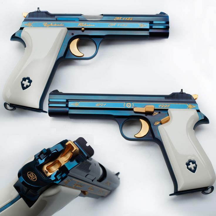 Sig P210 Pistol - There's blue and then there's GOTD blue! Our featured Sig P210 9mm pistol is one of the semi-auto wonders in the Robert E. Petersen Gallery at NRA HQ in Fairfax, VA.  It also represents a seven century commemoration of Swiss confederation. The smooth blue finish of this 8-shot pistol is nicely offset by the ivory grip panels and minimalistic gold accents.  For all its beauty, this model is one of the standard sidearms of the Swiss Army and has remained in issue for 65…