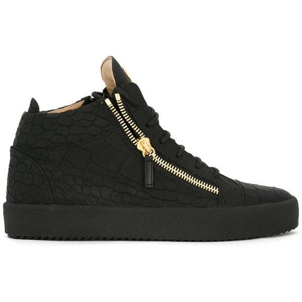 Giuseppe Zanotti Design 'Keith' hi-tops (1,710 ILS) ❤ liked on Polyvore featuring men's fashion, men's shoes, men's sneakers, black, mens black hi top sneakers, mens high top sneakers, giuseppe zanotti mens sneakers, mens black high top shoes and mens black high top sneakers