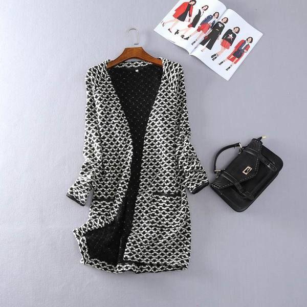 秋款外贸女装百搭气质时尚气质简约款长袖开衫毛线衫外套中长款T4