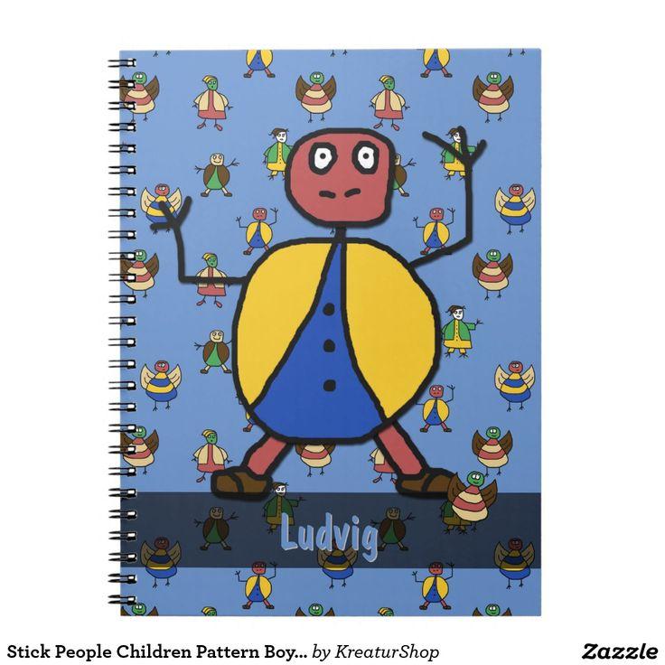 Stick People Children Pattern Boy any Name Notebook