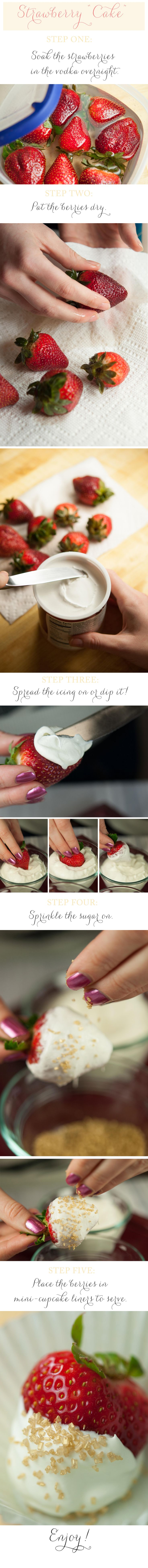 Cake Vodka-Infused Strawberries With Whipped Vanilla Icing on Fit for a Bride blog.    Bachelorette party food if I ever saw it!