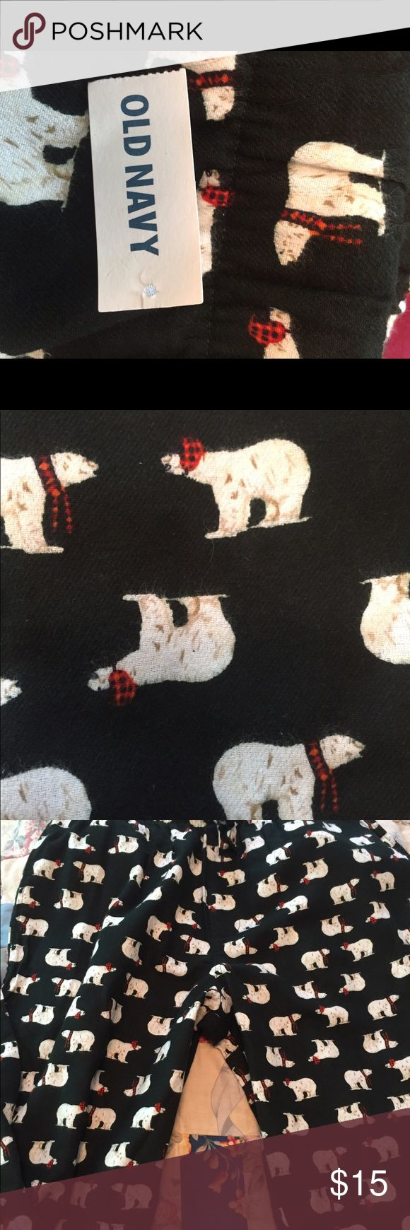 Old Navy pajamas Polar bears wearing a red scarf dot these 100% cotton pajama bottoms How Cute is that people???? They fit me but are long in the legs so I'd say they are for a tall lady NWOT Old Navy Intimates & Sleepwear Pajamas