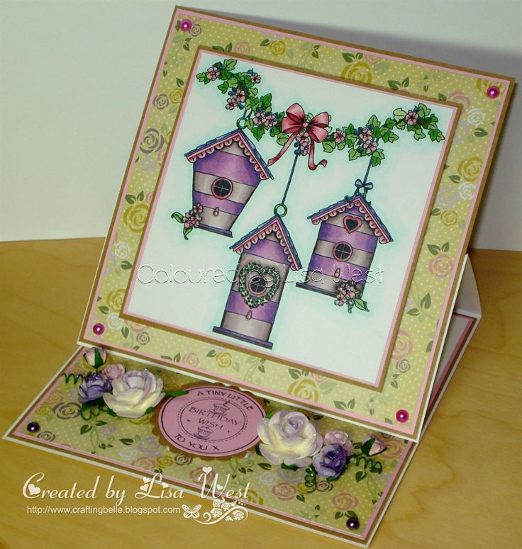 A birthday card made using the Birdhouse Garland digi stamp from Little Claire