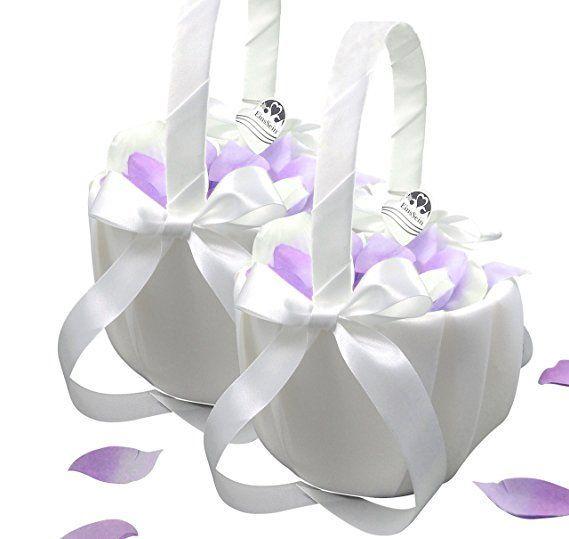 Streukorbchen Blumenkorbchen Fur Ihren Kirchenauszug 2 Korbe Gerafft Mit Satin Bezogenes Korbchen Mit Langer Blumenkorb Blumenkinder Hochzeit Blumenkorbchen