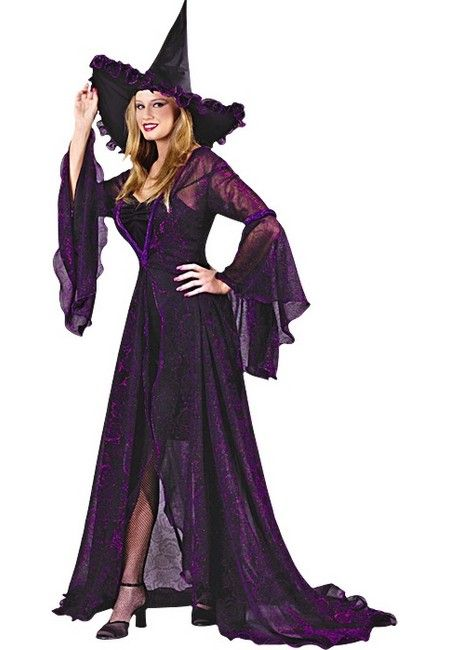 this stylish witch is ready to brew up some halloween fun shimmering witch adult costume includes black dress with shimmering purple overlay bell sleeves