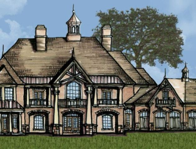 This castle house plan opens into a dual spiral stair-hall flanked by a dining room & library.  This luxury floor plan boasts a chef's kitchen with large windows.