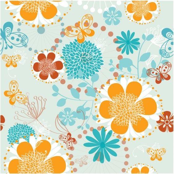 floral pattern butterflies