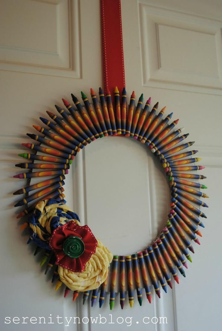 """""""Back to School"""" Crayon Wreath, via Serenity Now"""