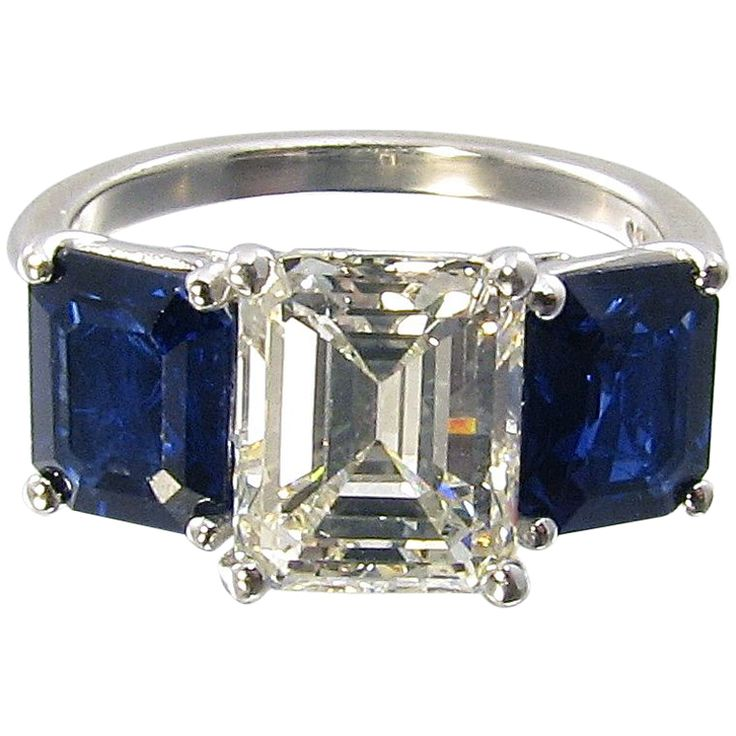 1stdibs - A Fabulous Sapphire and Diamond Three Stone Ring. explore items from 1,700  global dealers at 1stdibs.com