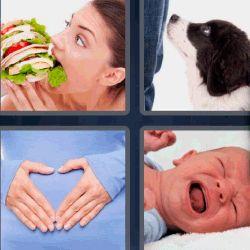 4 fotos 1 palabra mujer comiendo hamburguesa gigante. Perro blanco y negro. Manos en la barriga. Bebe llorando. ¡Que sigas disfrutando tu juego favorito!.