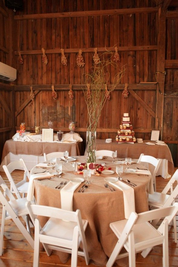 Winter Barn Wedding, setting! if only it was blue, silver and white, id be head over heels in love