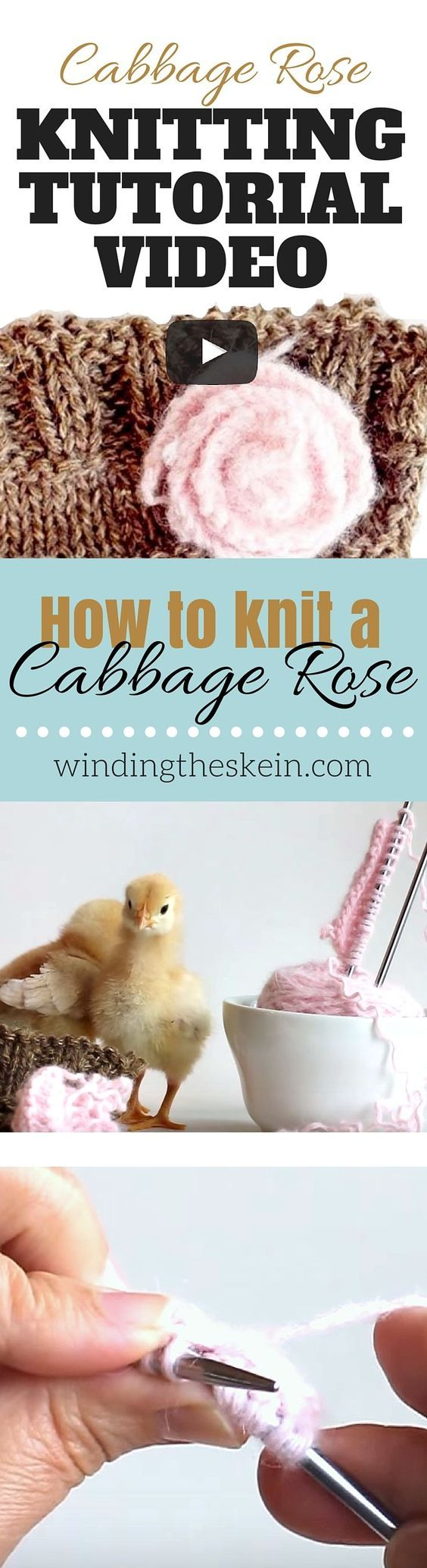 Looking for ways to embellish your hand crafts? Watch the video tutorial to see how easy it is to knit a cabbage rose! www.windingtheskein.com #knitting #flowers #tutorial #video #diy:
