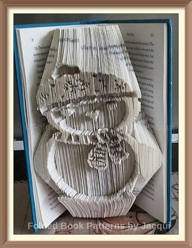 Snowman A. Cut and Fold Book Folding PATTERN by JHBookFoldPatterns on Etsy