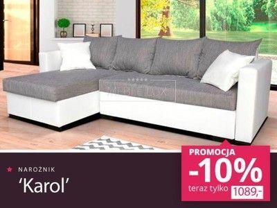 Narożnik kanapa sofa rozkładany KAROL rogówka HIT
