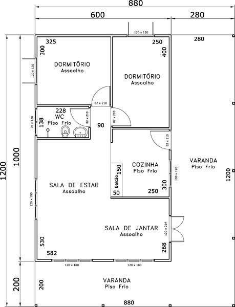 5 modelos de plantas de casas com 2 quartos                                                                                                                                                                                 Mais
