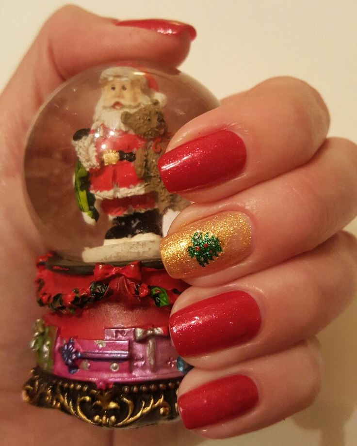 Christmas nails  Avon sparkly red nail polish in Ruby Slippers & accent nail with OPI Euro Centrale Collection 2013 in Oy-Another Polish Joke and a Christmas  tree sticker
