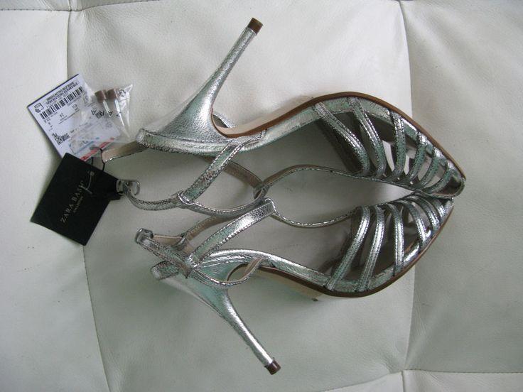 New ZARA Women's #Metallic High #Heel T-Bar #Shoes High Heel T-Bar  EU 37 UK 4 US 6 #Zara #Sandals