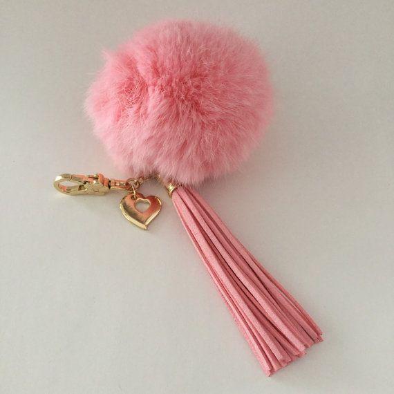 Pink 10 cm Rabbit fur pom pom ball keychain or bag by YogaStudio55