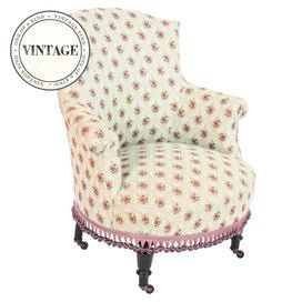 Vintage french slipper chair with floral upholstery and ball fringe