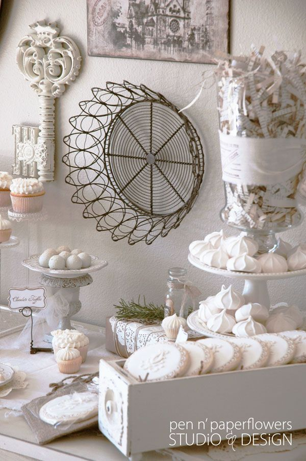 This ould be beautiful for a winter party or wedding shower in the winter. Look at the way your buffet is set up using simple items and keeping it fairly simple. Beautiful. - Pam